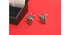 Rock On Pewter Cufflinks Boxed Mens  Rock Music Gift